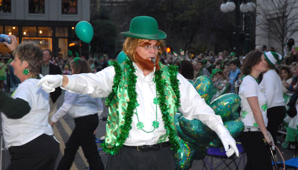 Leprechaun on the St. Patrick's Day Parade route